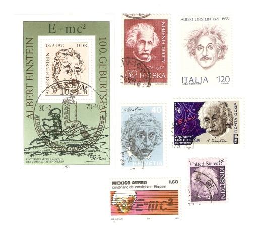 Albert Einstein  a jeho najslávnejší vzorec na známkach