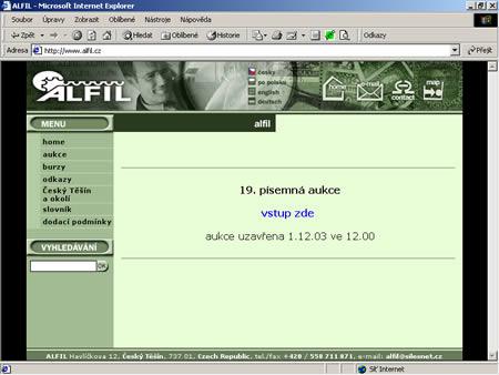 Alfil.cz - úspěšné aukční stránky