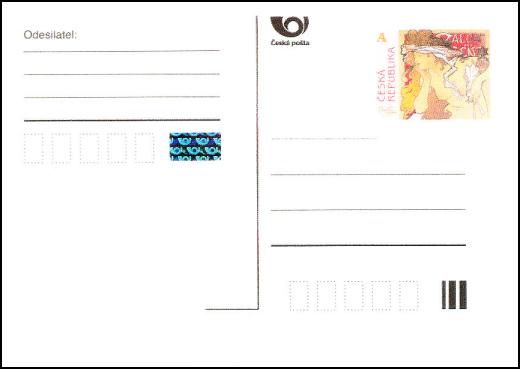 ALFONS MUCHA - 150 let - provozní poštovní dopisnice