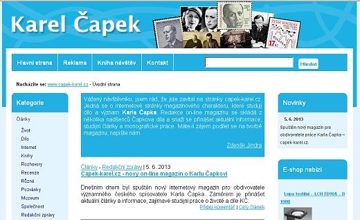 Capek-karel.cz - nový on-line magazín o Karlu Čapkovi