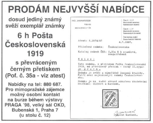 Další padělky PČ 1919 prodané v ČR za stovky tisíc