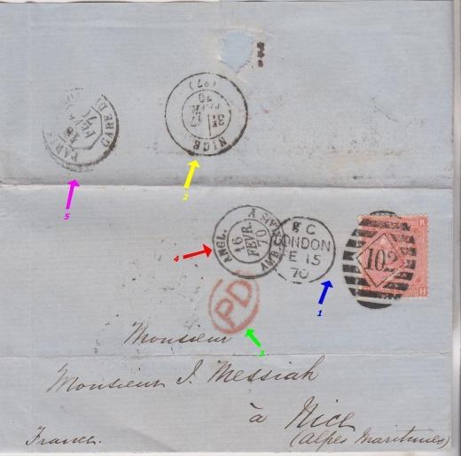 Dopis z Londýna do francouzské NICE v roce 1870