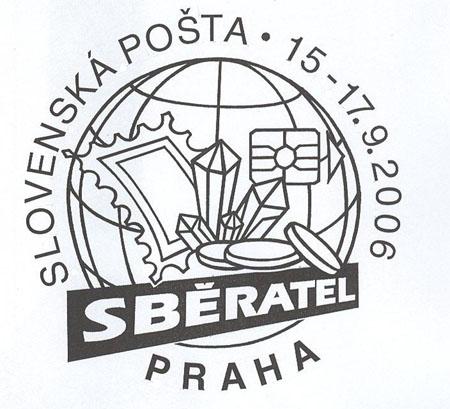 Dopisnice a razítko Slovenské pošty ke Sběrateli
