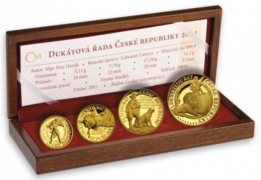 Dukátová řada ČR 2011 Pověsti české sada 4 medailí proof