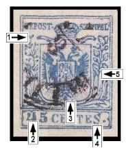 Emise 1850 v měně CENTIMES - padělky ke škodě pošty