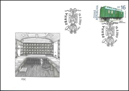 FDC - Historické dopravní prostředky - vagón poštovní ambulance