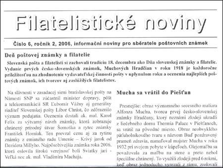 Filatelistické noviny 6/2006