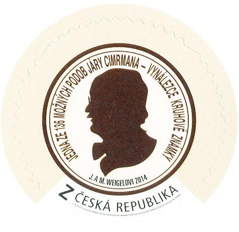 Jára Cimrman - vlastní známka kruhová Z - vzor