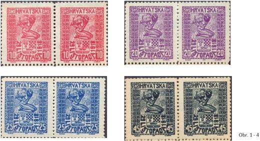 Jugoslávie - první vydání pro Chorvatsko - typy a padělky