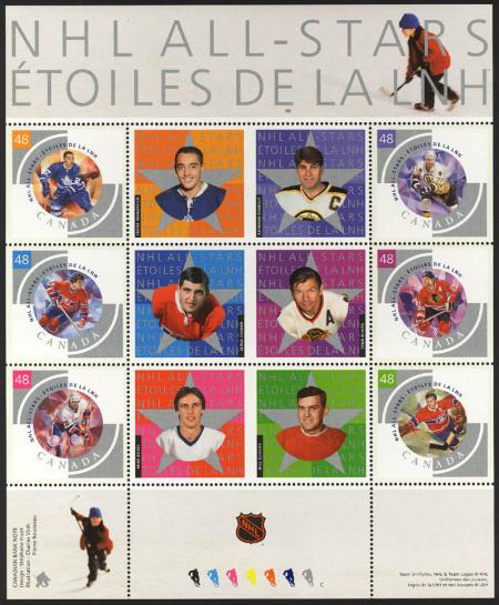 Kanada vydala poštovní známky slavných hokejistů NHL