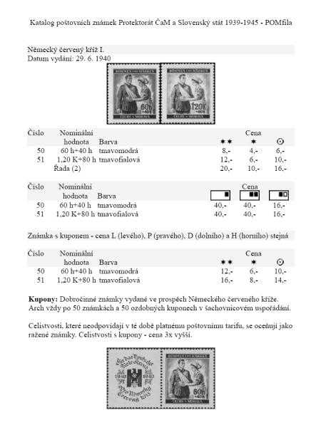 Katalog známek - Protektorát ČaM, Slovenský stát 1939-45 - POMfila 2010