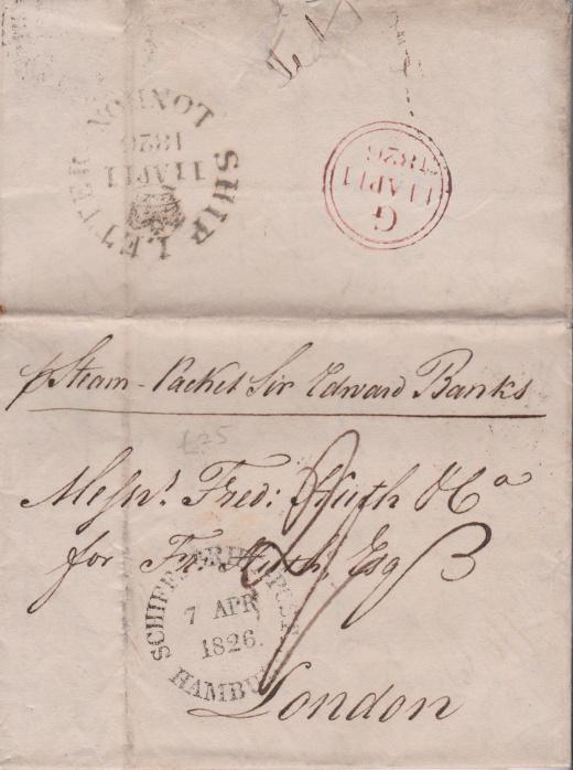 Lodní poštou z Hamburku do Londýna v roce 1826