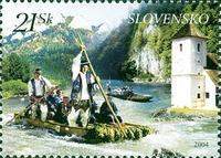 Najkrajšou slovenskou známkou roku 2004 sa stala emisia Pltníci na Dunajci