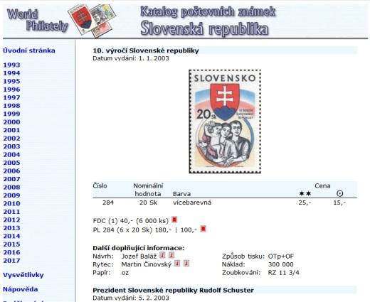 Novinka - ceník poštovních známek - Slovenská republika (1993-2017) - World Philately 2018