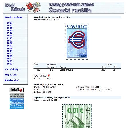 Novinka: Katalog poštovních známek - Slovenská republika (1993-2009) - World Philately 2010