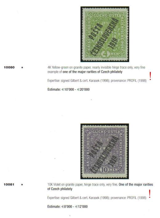 Padělek žilkované známky ČSR zobrazený v katalogu