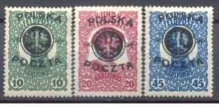 Padělky přetisku Polska Pošta 1. provizorního vydání po Rakousko-uherské okupaci vydané 5. 12. 1918