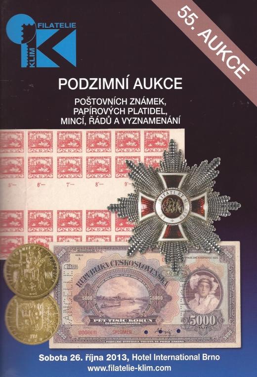 Podzimní  aukce poštovních známek, papírových platidel, mincí, řádů a vyznamenání Filatelie Klim