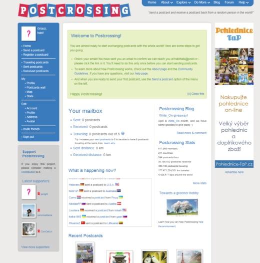 Postcrossing - 2. díl - začínáme napostcrossing.com