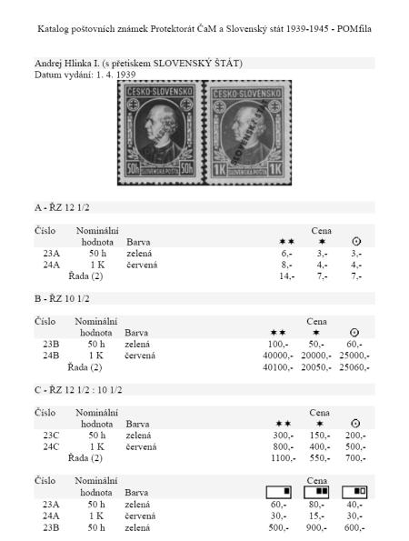 Právě vyšlo tiskem! Katalog známek - Protektorát ČaM, Slovenský stát 1939-45 - POMfila 2010