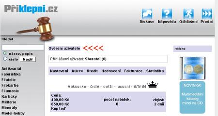 Přiklepni.cz - internetová sběratelská aukce
