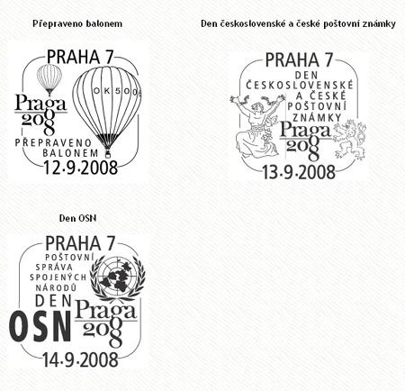 Příležitostná poštovní razítka na Světové výstavě poštovních známek PRAGA 2008