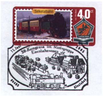 Privátní poštovní razítko k 39. Kongresu mezinárodní námětové společnosti Eisenbahnwesen