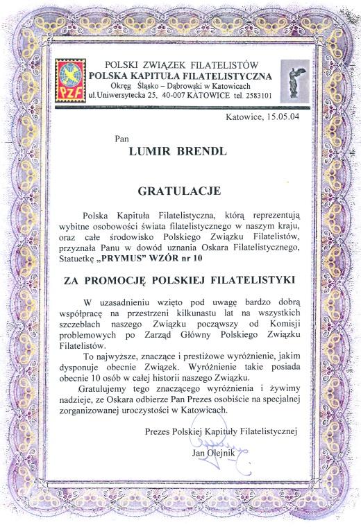 Rozhovor sLumírem Brendlem – dlouholetým předsedou SČF