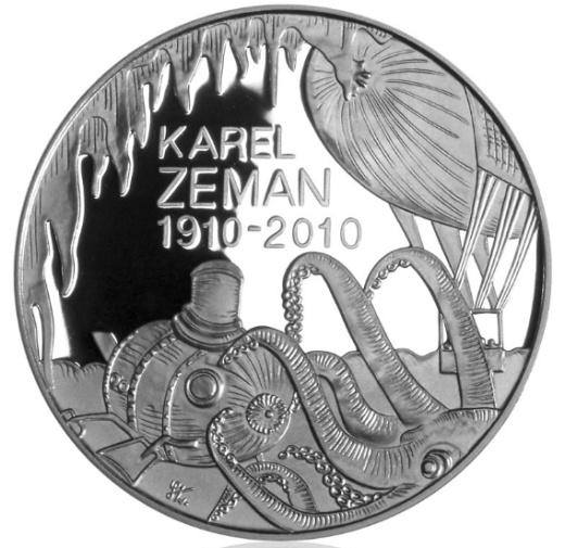 Stříbrná 200 Kč mince Karel Zeman proof