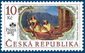 Světová výstava poštovních známek PRAGA 2008: J. Navrátil: Nástěnná malba z poštovního muzea v Praze