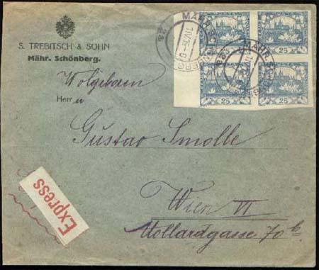 Vícenásobné frankatury Hradčan - hodnota 25 hal. (modrá)