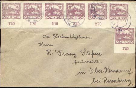 Vícenásobné frankatury Hradčan  - hodnota 3 hal. (fialová)