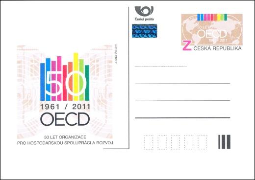 Vydání příležitostné poštovní dopisnice - 50 let OECD