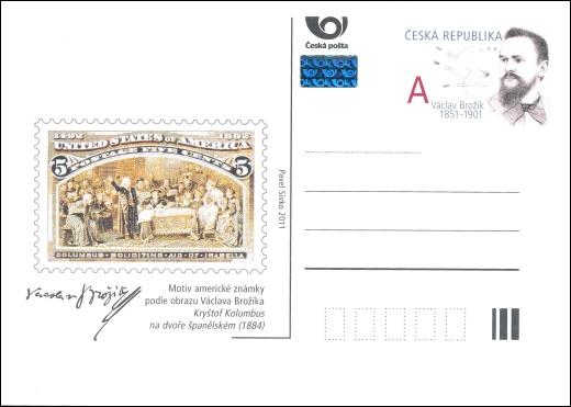 Vydání příležitostné poštovní dopisnice - Václav Brožík