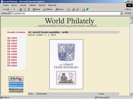World Philately 2003 ČR - UPDATE na v. 2.0 zdarma