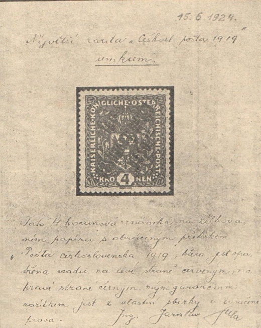 Z historie naší největší filatelistické rarity 4Kr PČ1919 na žilkovaném papíře s obráceným přetiskem