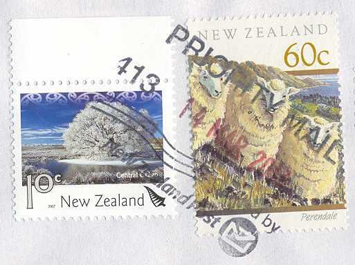 Zajímavé novozélandské denní razítko