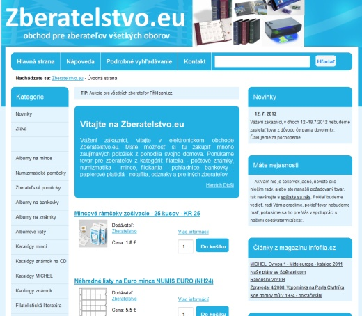 Zberatelstvo.eu - filatelia, filokartia, numizmatika, notaf�lia