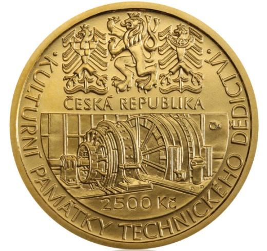 Zlatá 2500 Kč mince důl Michal v Ostravě stand
