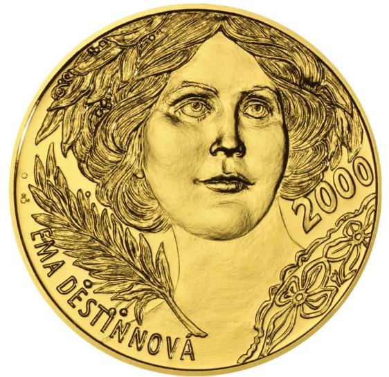 Zlatá investiční medaile s motivem 2000 Kč bankovky Ema Destinnová stand