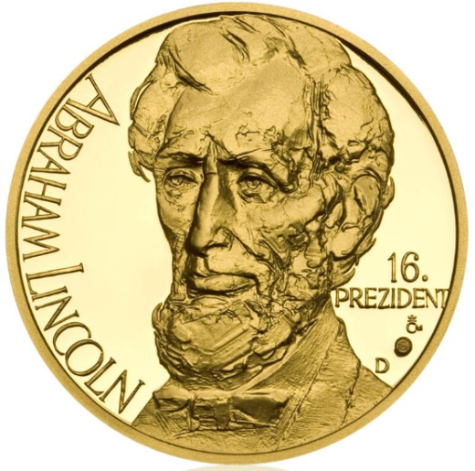 Zlat� uncov� medaile Abraham Lincoln proof