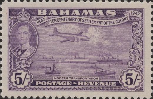 Známka Baham z roku 1947 a současnost