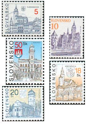 Zpravodaj 1/2006: Prehľad druhov papiera slovenských výplatných známok Mestá