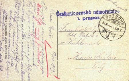 1. prapor československého námořnictva – Polní pošta 1919