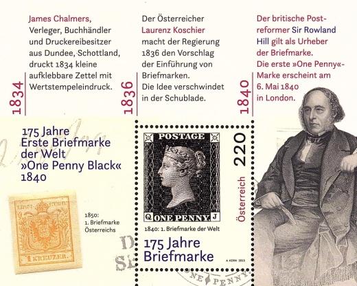 175. výročí vydání první poštovní známky světa si zajímavým aršíkem připomíná Rakousko
