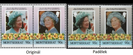 85. narozeniny královny Elizabeth královny matky - pravé známky a padělky Montserrat