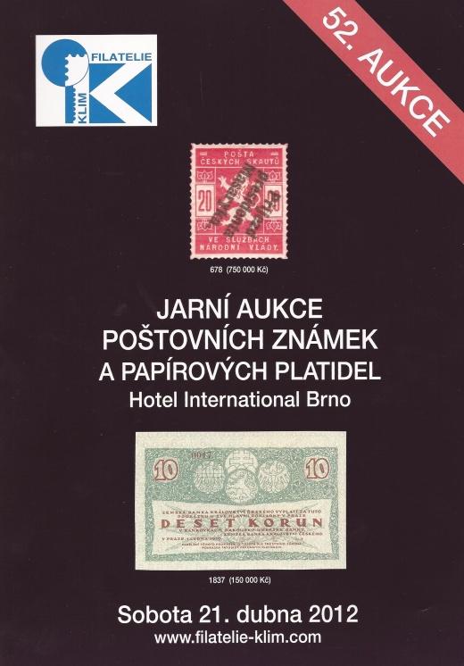 Aukce poštovních známek a papírových platidel  Filatelie Klim