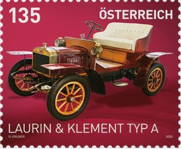 Auto LAURIN &  KLEMENT TYP A na nové rakouské známce