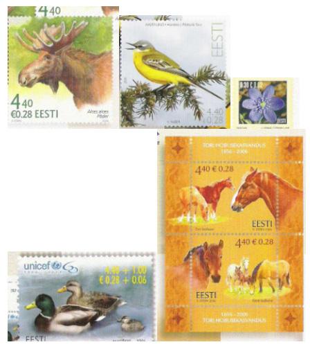Biologické náměty  na známkách Estonska