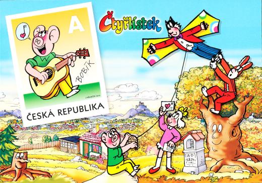 Bobík - Čtyřlístek - vydání pohlednice s natištěnou známkou